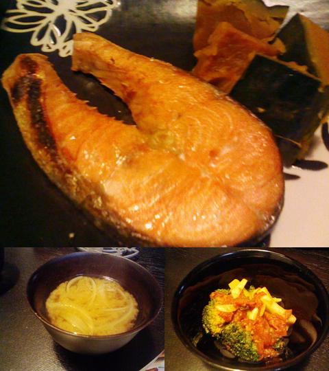 鮭とブロッコリーとかぼちゃ